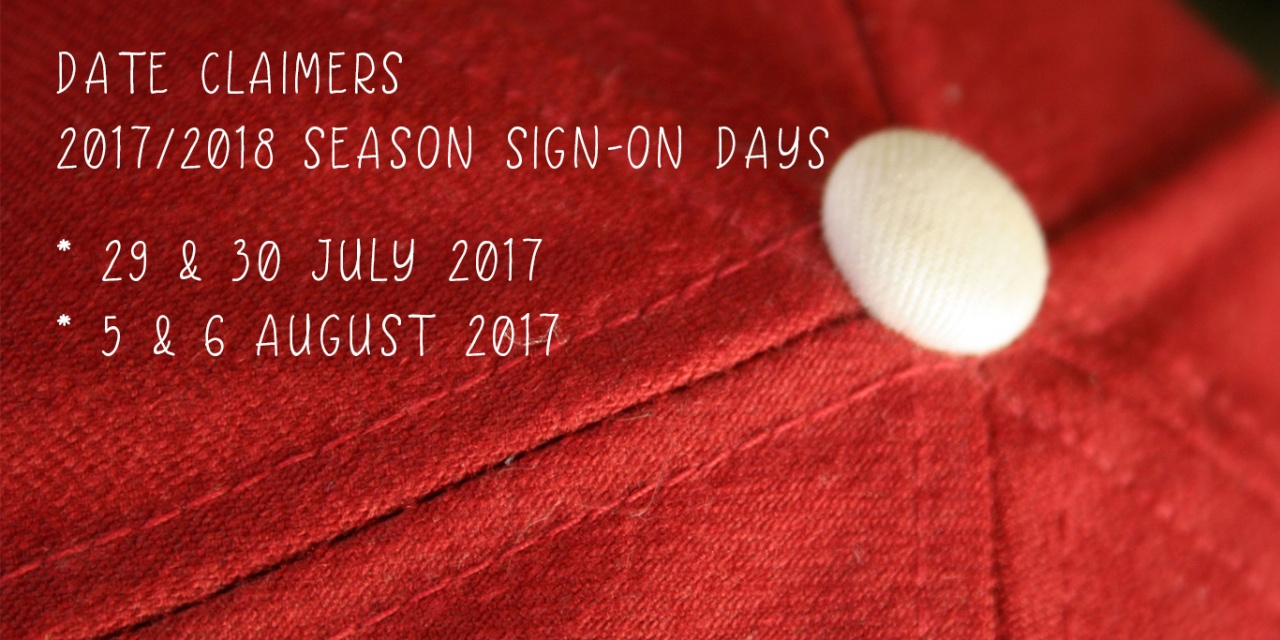 Date claimers: 2017/18 Season sign-on days